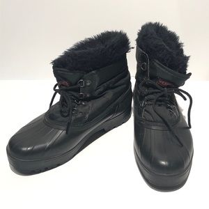 Sorel Winter Duck Boots Black Faux Fur Lace Up New